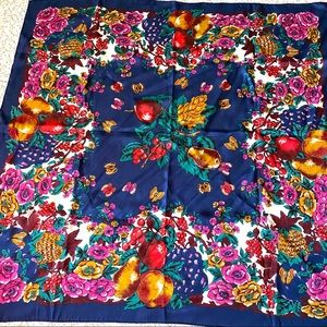 Beautiful Navy scarf with floral and fruit motif